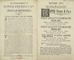 Advert for Roper Freres & Cie's Champagne